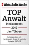 Jan Tübben, TOP-Anwalt Medizinrecht 2019