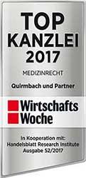 TOP-Kanzlei Medizinrecht 2017 Quirmbach & Partner